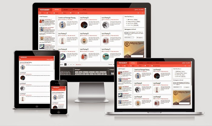 Pertamax Responsive HTML 5 Blogger Template Friend (Red)