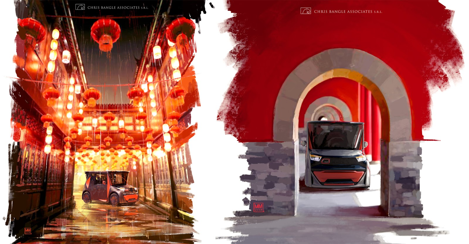 Two views of Redspace Reds, artwork by Matteo Mariuzzo