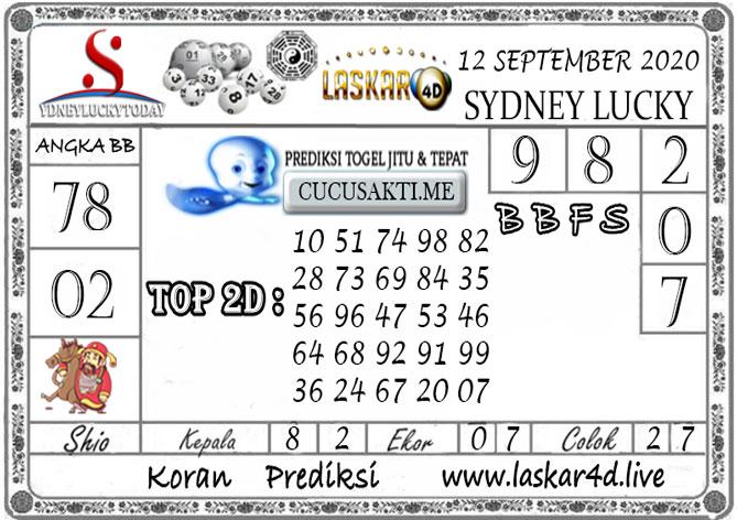Prediksi Sydney Lucky Today LASKAR4D 12 SEPTEMBER 2020