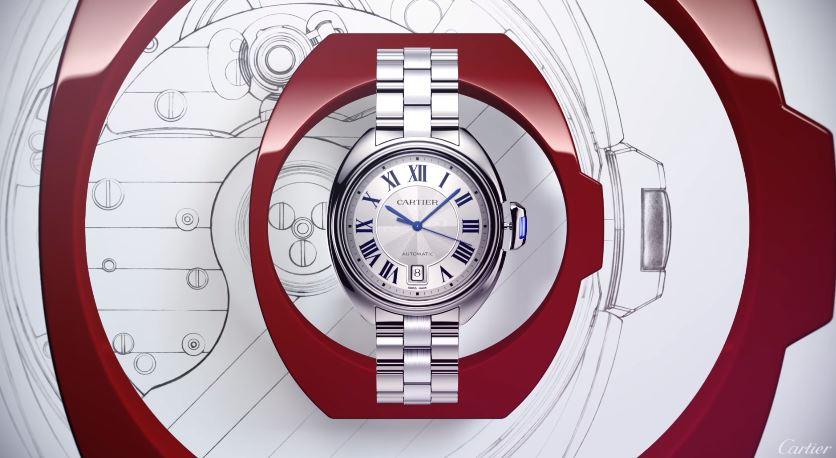 Pubblicità Cle De Cartier con orologio acciaio con Foto - Spot ottobre 2016