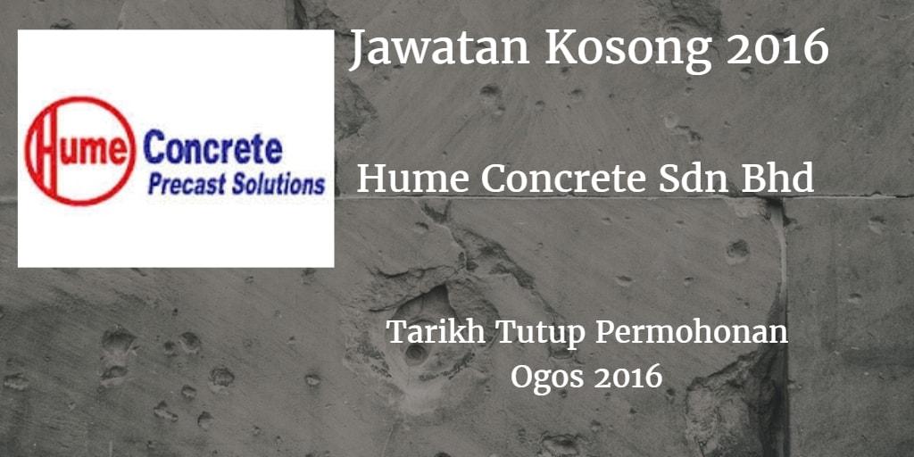 Jawatan Kosong Hume Concrete Sdn Bhd Ogos 2016
