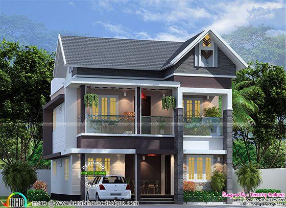 4 bedroom 1830 sq-ft modern sloped roof home