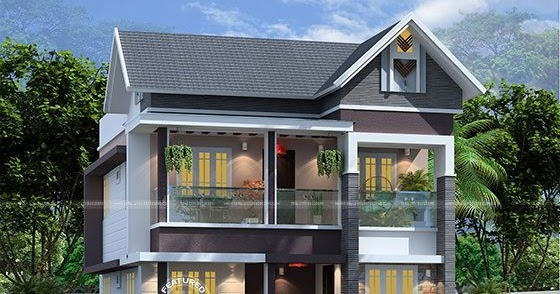4 bedroom 1830 sq-ft modern sloped roof home - Kerala home ...
