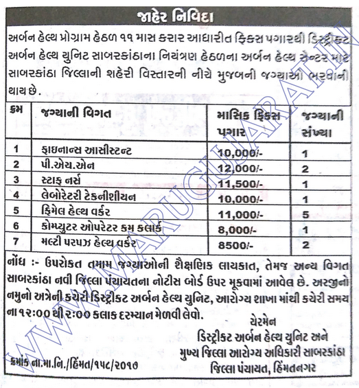 District Urban Health Unit, Himmatnagar Recruitment for