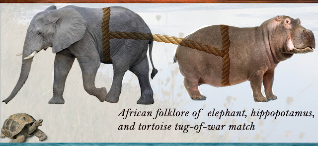 The bigger they are the harder they fall for pranks African folklore teaches the elephant, hippopotamus, and tortoise tug-of-war match did not take physical strength to win.
