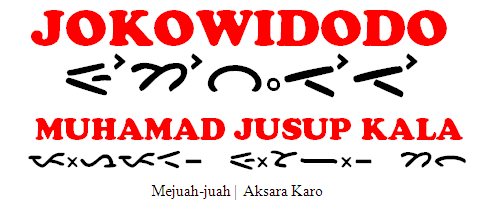 Nama Presiden dan Wakil Presiden(Aksara Karo)