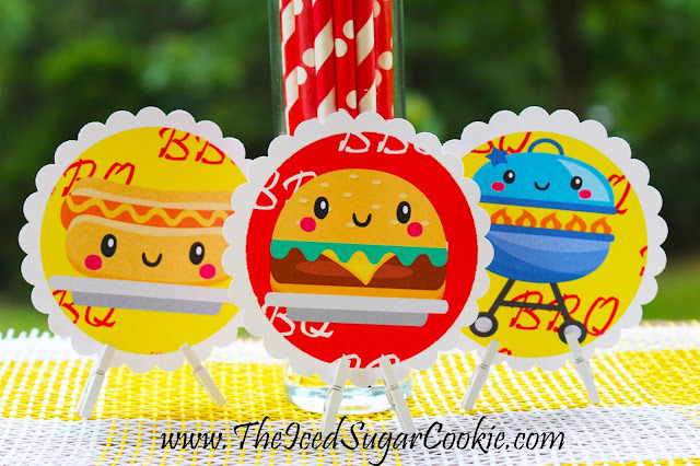 BBQ Birthday Party Printables- Cupcake Toppers- Free Printables by The Iced Sugar Cookie