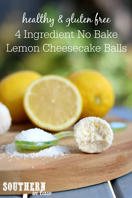 4 Ingredient Easy No Bake Lemon Cheesecake Balls Recipe - gluten free, grain free, healthy, refined sugar free, nut free, clean eating dessert recipes