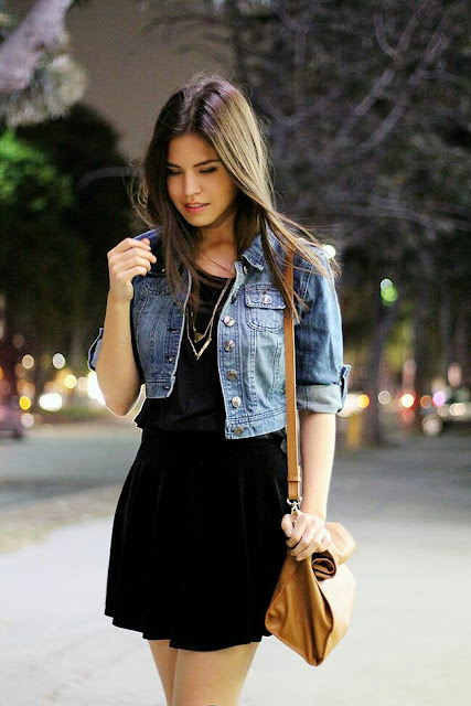 Denim jacket with  black dress