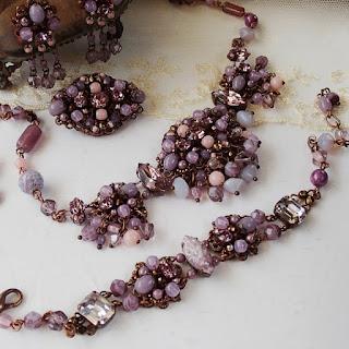 purple rhinestone necklace, light purple rhinestone bracelet, purple dangle earrings, purple brooch. Vintage style jewelry