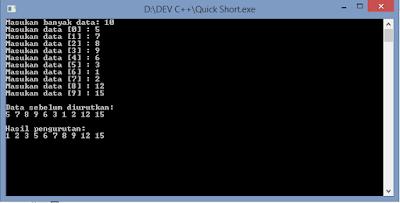 Contoh Program Algoritma Quick Sort C++ Sederhana
