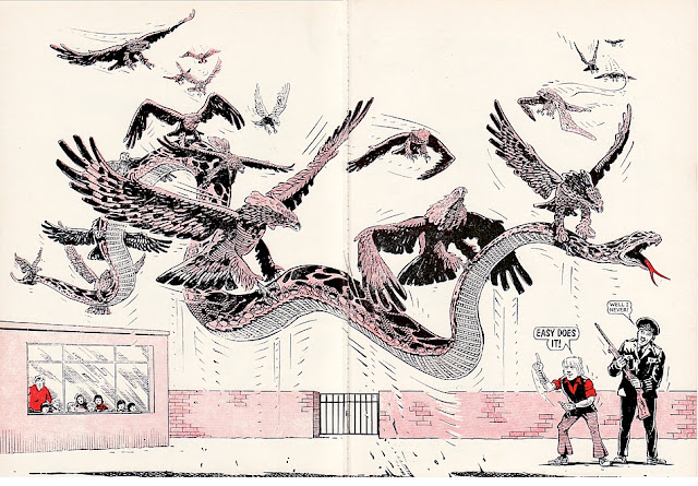 Johnny Hawke, a school full of children and an armed policeman watch as birds of prey lift a giant anaconda into the air, Beano Annual 1973
