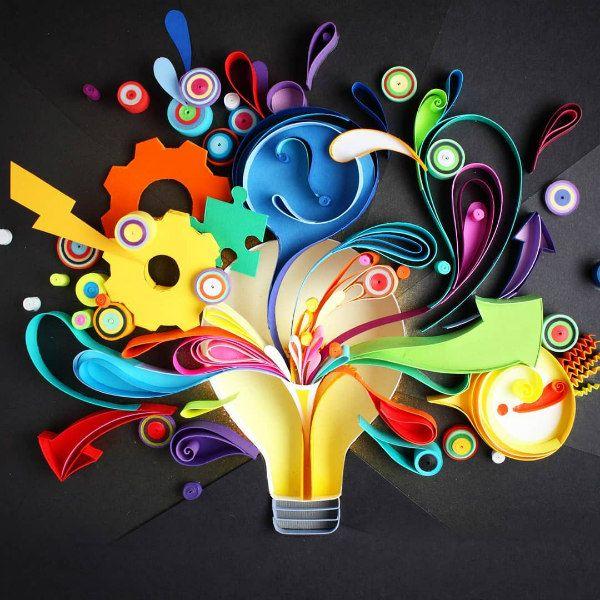 quilled lightbulb design