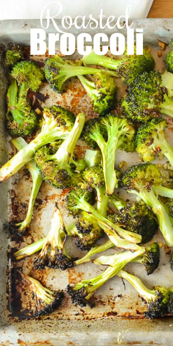 Roasted Broccoli in the oven  is a favorite side dish recipe with lemon zest and garlic. A great side dish recipe for Christmas and Thanksgiving from Serena Bakes Simply From Scratch.