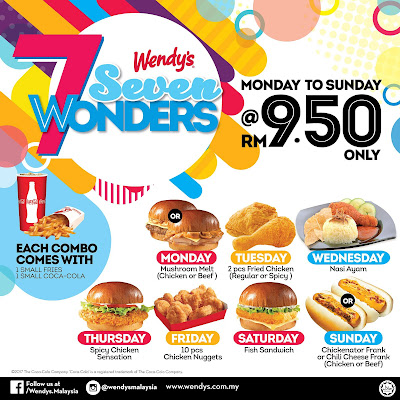 Wendy's Malaysia 7 Wonders Combo Meal Set RM9.50