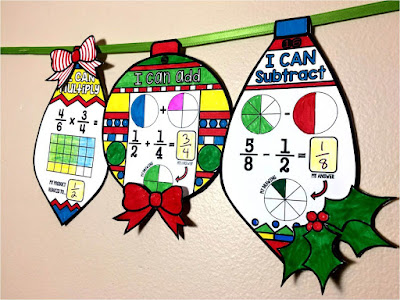 Fraction Ornaments Holiday Math Pennants mini-bundle