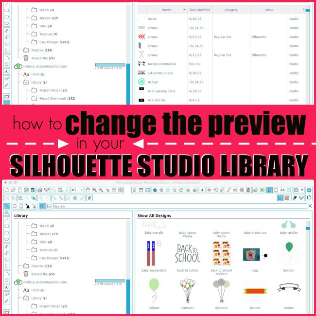 change preview silhouette studio library, sihouette studio library, silhouette cameo tutorials, silhouette beginners