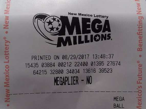 Top of New Mexico Lottery MegaMillions ticket