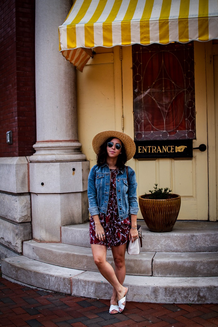 How to Style A Straw Boater Hat | A.Viza Style | jcrew hat - GAP jean jacket - loft shift dress - jcrew slides - rayban round sunglasses - casual summer style