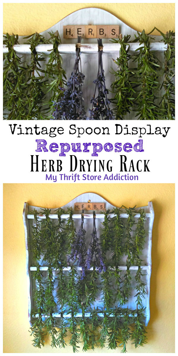 repurposed vintage herb drying rack