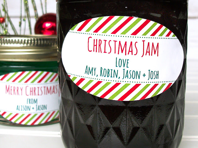 Custom Peppermint Striped Christmas Oval Mason Jar Labels