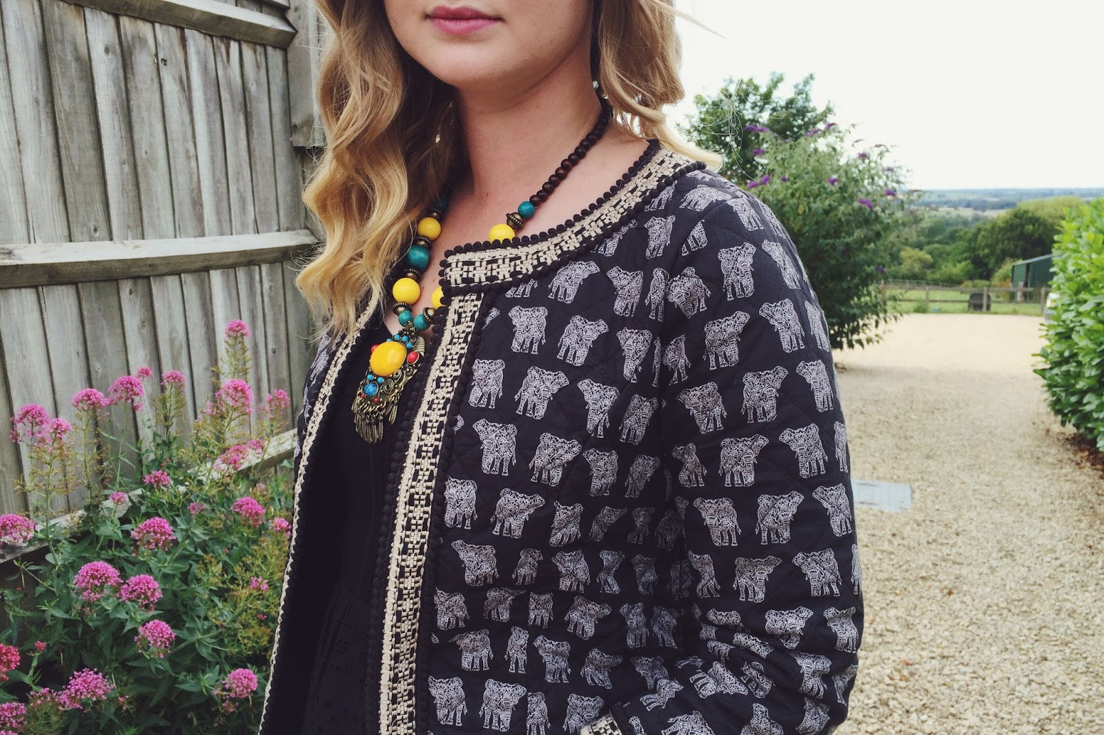 Fat Face elephant print jacket, Fat Face summer dress, fashion bloggers