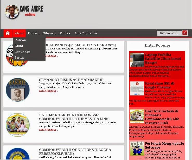 Tampilan blog Kang andre