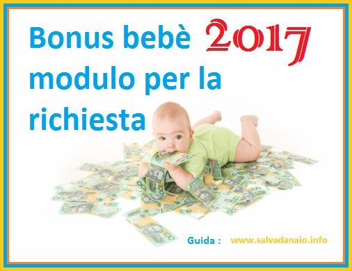 Bonus bebe 2017 modulo per la richiesta