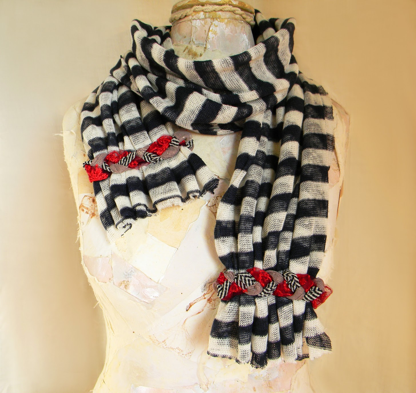 Navy Stripped Wrap, Jersey Scarf White and Dark Blue Stripes with Braided Textiles