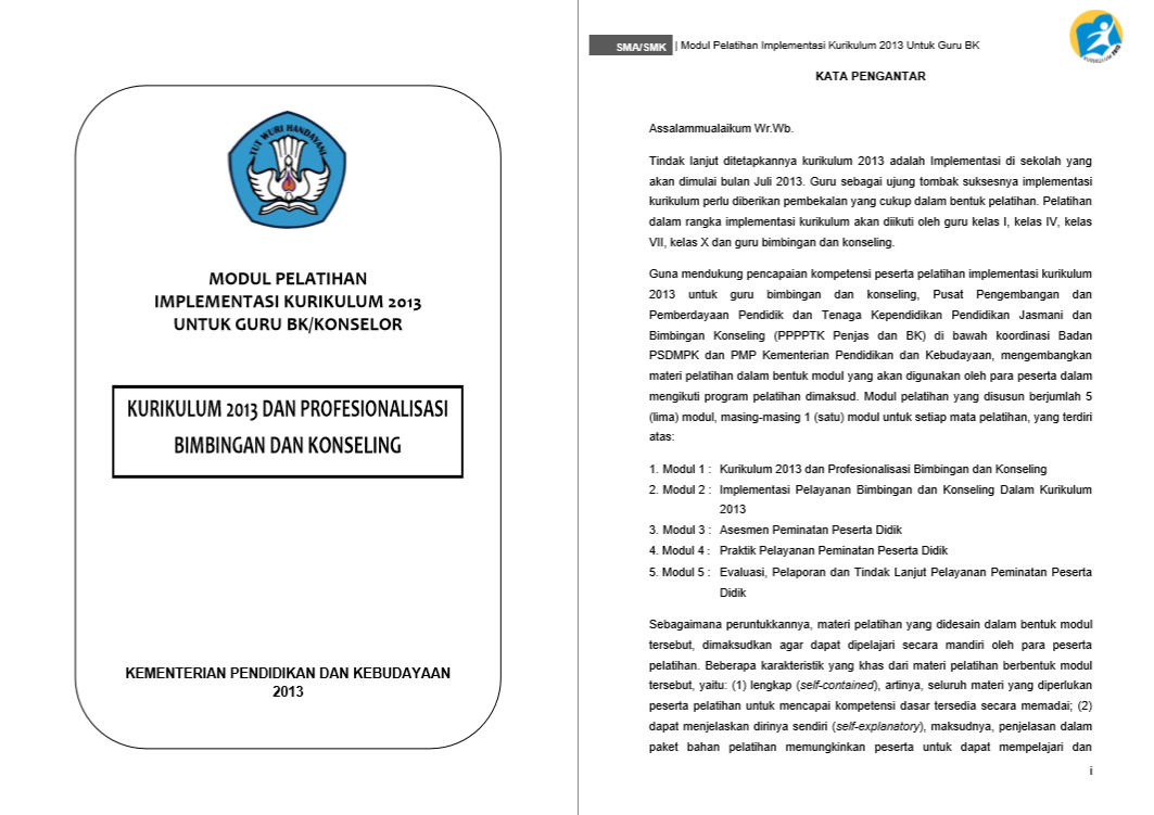 Modul Pelatihan Implementasi Kurikulum 2013 - Profesionalilasi Bimbingan dan Konseling