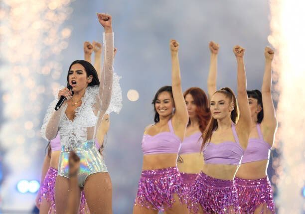 Dua Lipa performs in sexy bodysuit at the Champions League Final