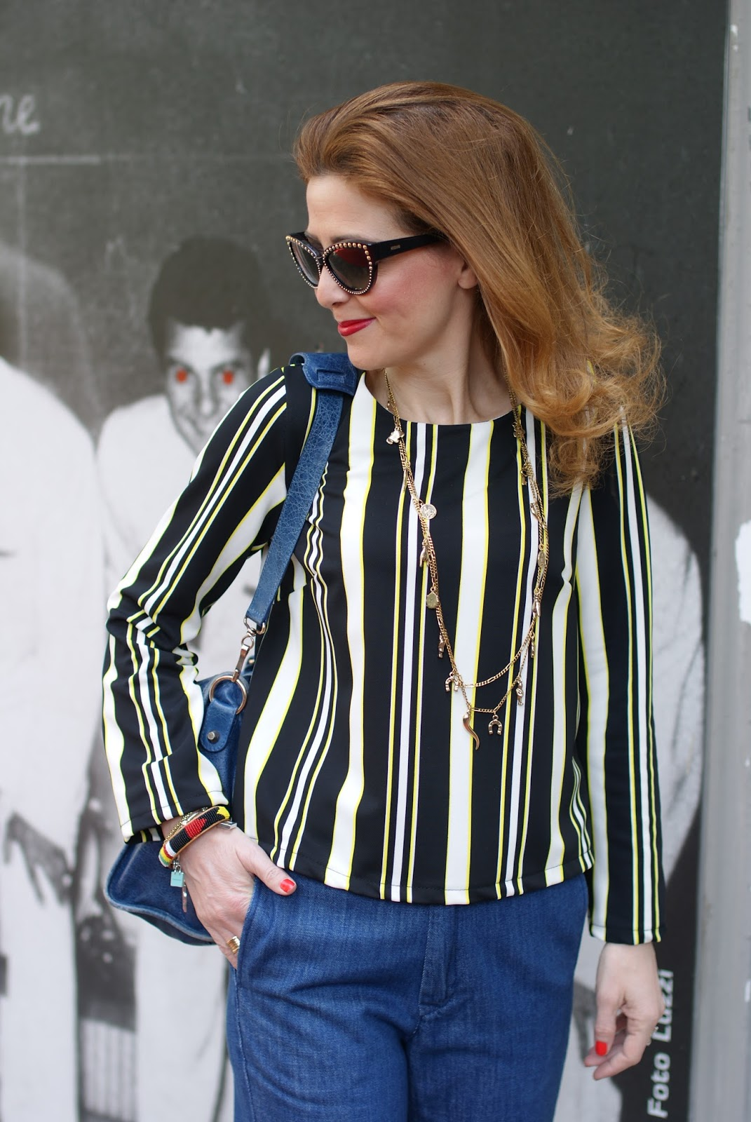 denim culotte pants and striped blouse on Fashion and Cookies fashion blog, fashion blogger style