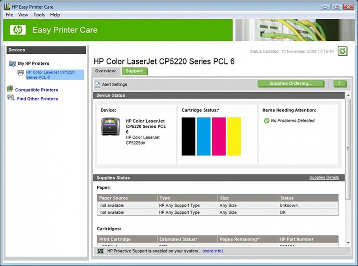 HP Color LaserJet CP5225dn Web Arayüzü