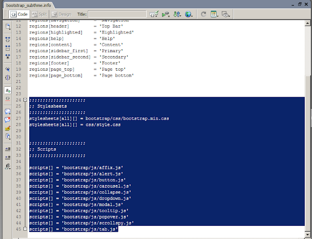 script yang mengarah ke folder bootstrap