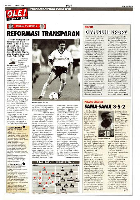 PEMANASAN PIALA DUNIA 1998: JERMAN VS NIGERIA