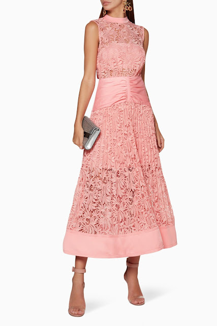 Pink Floral Lace Midi Dess 1750 AED