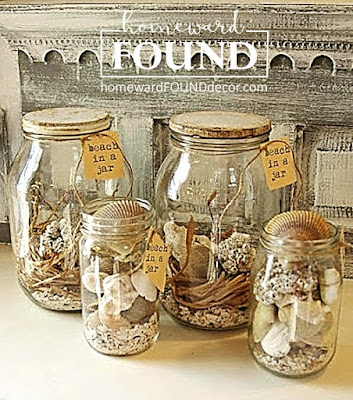 summer, original designs, diy decorating, DIY, decorating, seashells, Pinterest, beach style, beach in a jar, homewardFOUND