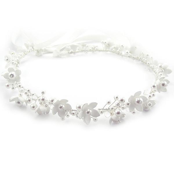 Kwiatowy wianek ślubny - perłowe anemony.