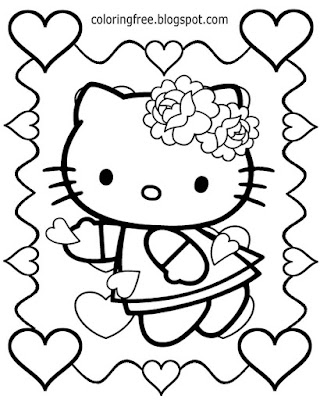 Art easy to color cute cat cartoon happy Hello Kitty clipart Valentines Day coloring pages for teens