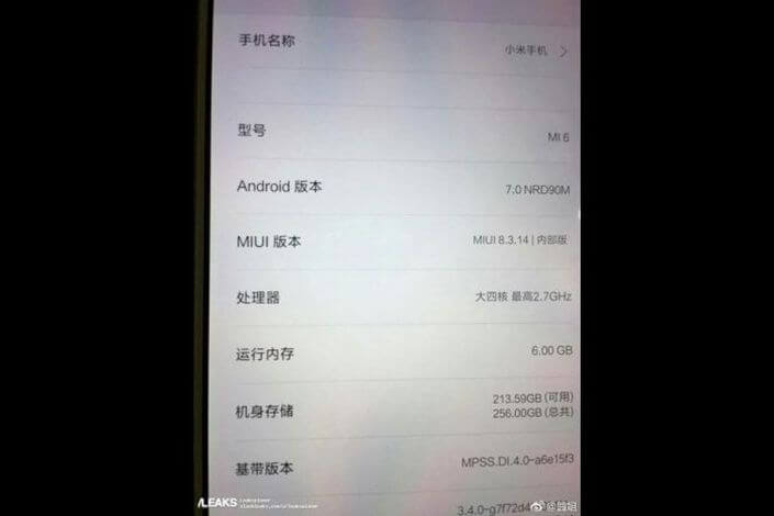 Xiaomi Mi6 Features may spoil Snapdragon 821