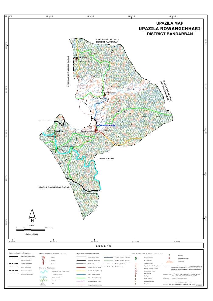 Rowangchari Upazila Map Bandarban District Bangladesh