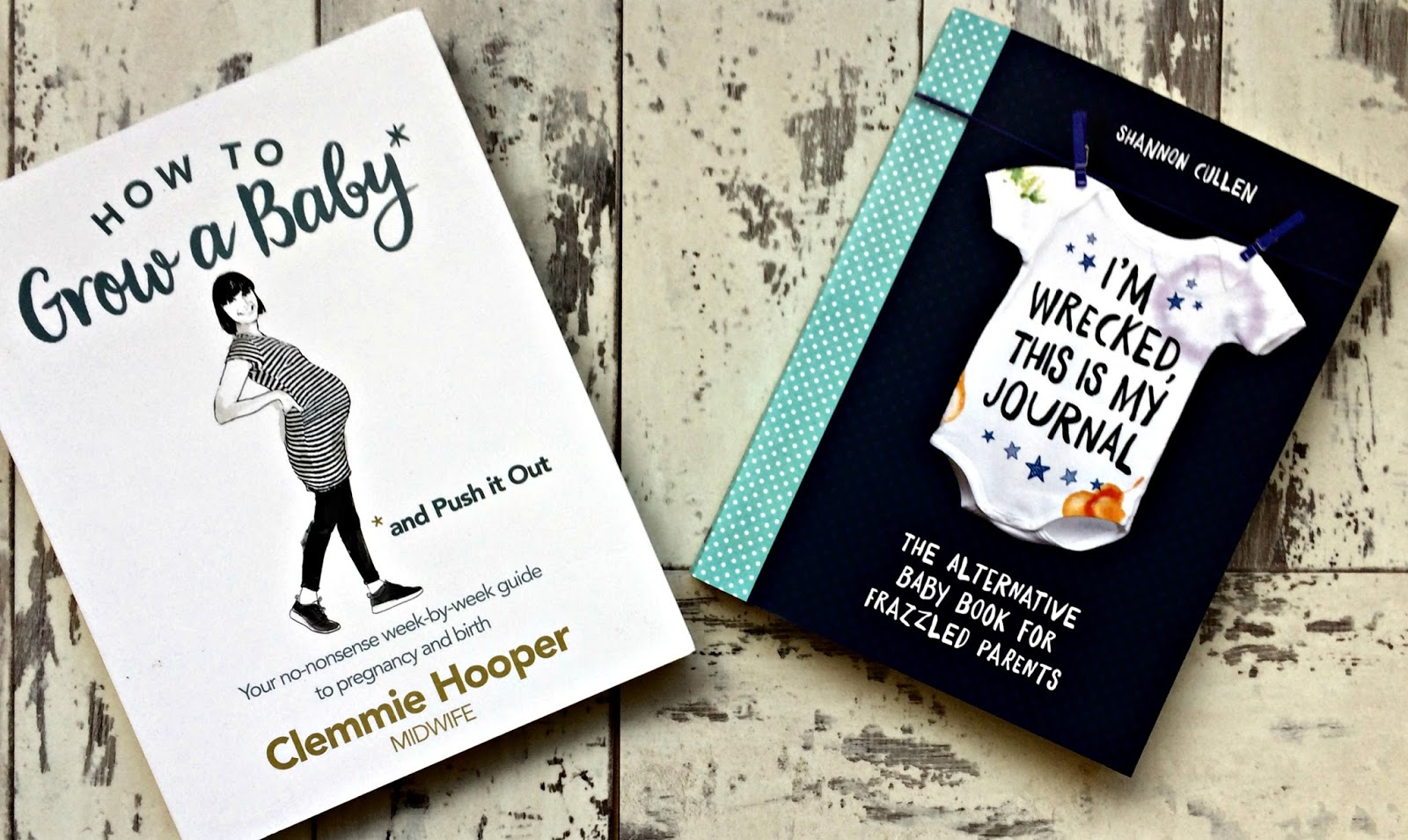 How To Grow A Baby by Clemmie Hooper & I'm Wrecked This Is My Journal by Shannon Cullen book front covers
