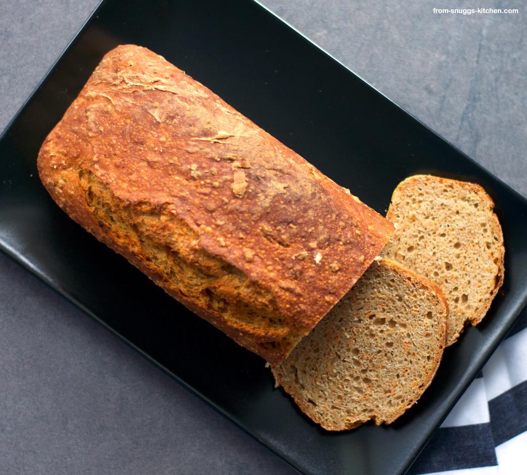 Karotten-Dinkel No Knead Brot