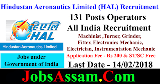 Hindustan Aeronautics Limited (HAL) Recruitment - 131 Posts - Operators in Non-Executive Cadre