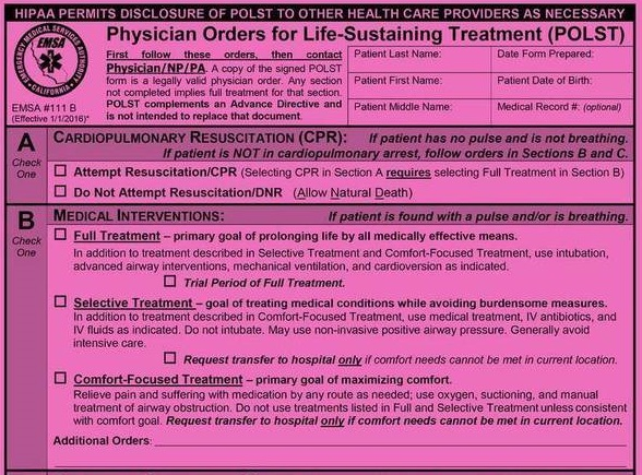 Using Our Pink Friend (POLST) Appropriately Please Help! GeriPal - dnr medical form