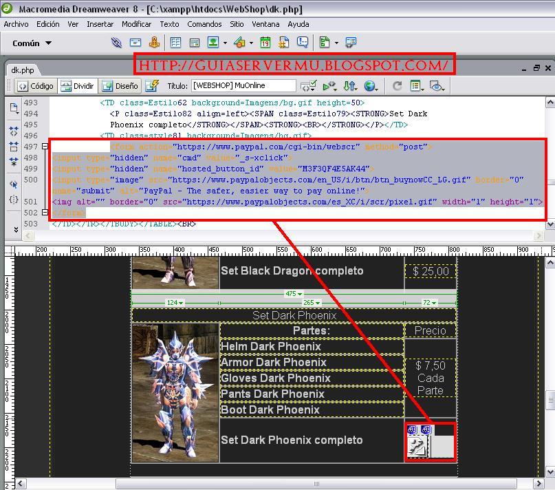 Pegando código en la webshop