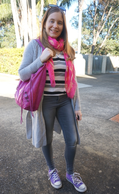 pink scarf and magenta bag with casual monochrome grey skinny jeans outfit winter | Away From Blue