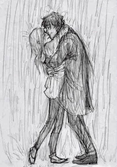 Pencil sketches of couples in love and pencil sketches of archer boy kissing girl