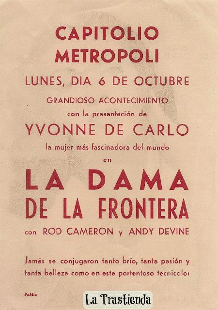 Programa de Cine - La Dama de la Frontera (Vertical) - Yvonne de Carlo - Rod Cameron