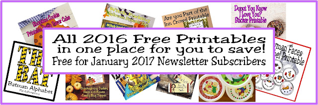 Do you love free party printables? KandyKreations shared LOTS and LOTS of free printables in 2016 and now you can save time and work by downloading them all in one easy swoop. Get the zip file delivered to your inbox by becoming a subscriber to Kandy Kreations newsletter in January of 2017.  You won't regret it and will be creating a sweet celebration tonight!